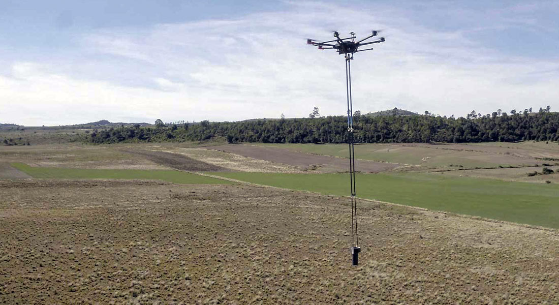 Aeromagnetic system for exploration with drones